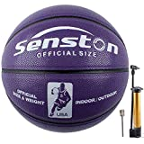 Senston Balon Baloncesto Fluorescente Balon de Baloncesto Pelota Baloncesto de Cuero Sintético de Tamaño 6
