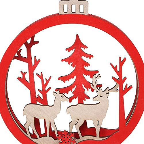 NLRHH Weihnachten Holzzyklus Hängende Baum Party Ornament Festival Haushaltsaufnahme Spielzeug DIY (Farbe: 1) Peng (Color : 1)