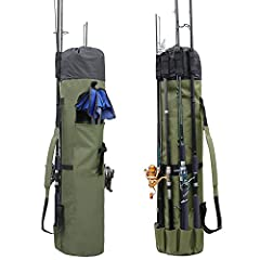 Khaki Green- A greenish khaki color with black trim. The carry case holds 5 rods and reels on the outside, plus more rods, reels, tackle and equipment on the inside. Heavy duty grade high-tech polyester. Adjustable shoulder strap. Flat-Expands to 48 ...