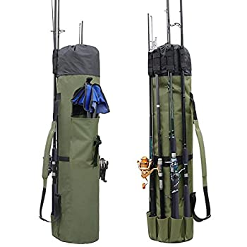 Allnice Durable Canvas Fishing Rod & Reel Organizer Bag Travel Carry Case Bag- Holds 5 Poles & Tackle  Khaki Green