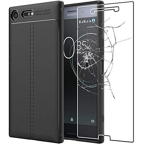 """ebestStar - Funda Compatible con Sony Xperia XZ Premium, XZ Premium Dual Carcasa Silicona Gel, Protección Diseño Cuero Ultra Slim Case, Negro + Cristal Templado [Aparato: 156x77x7.9mm 5.46""""]"""