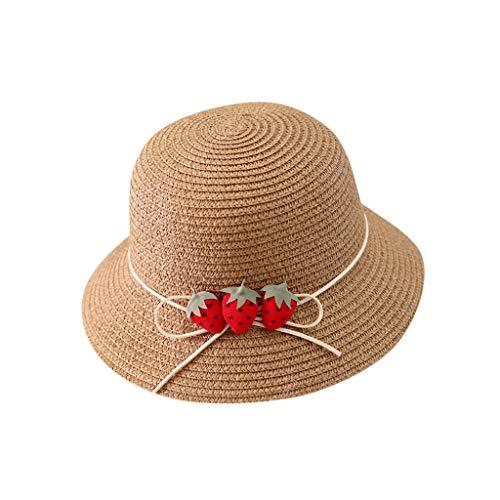 Julhold Sombrero de bebé gorra verano sombrilla playa paja Cap tres fresa Sun-Shading Sun Protection Hat