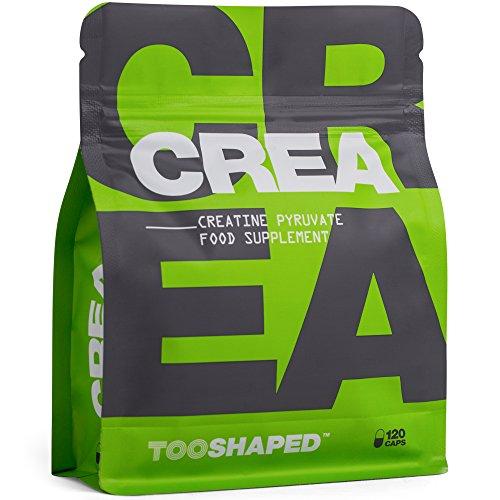 Kreatin Kapseln - Creatine Pyruvat - Für Athleten im Kraftsport (Gewicht zunehmen). 120 vegane Kapseln von TOOSHAPED