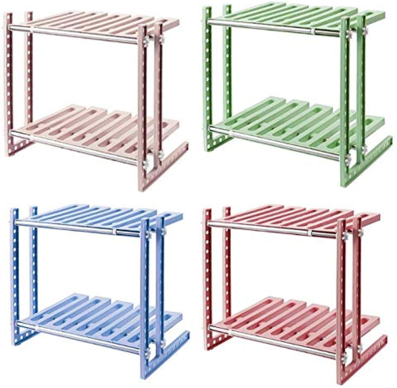 Westsell Double Layer Kitchen Storage Organizer Bathroom Living Room Retractable Elastic Shelf Holder Household Storage Rack