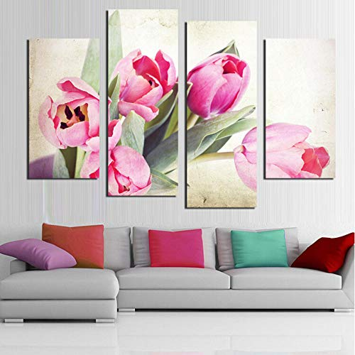 4 Unids Tulipán Rosa China Flor Moderna Pintura Aerosol Irregular Wall Art Picture Home Decor Bajo Precio Sin Marco