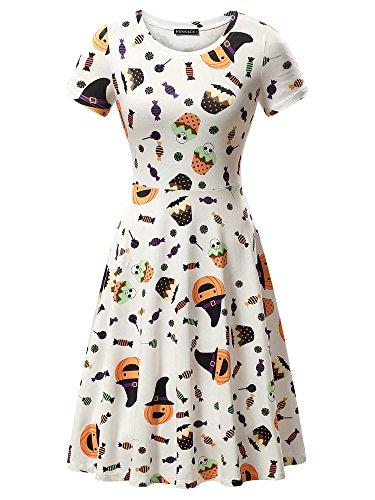 FENSACE Womens Short Sleeves Casual A-Line Halloween Pumpkin Dress, Candy, X-Large