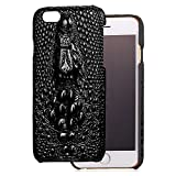 iPhone 6 Plus/6s Plus Funda, Bandmax iPhone 6 Plus/6s Plus Leather Funda Negra Carcasa Piel Cocodrilo 3D Bumper Case Shock- Absorción y Anti-Arañazos Protección iPhone Accesorios para iPhone 6 Plus/6s Plus (Negro)