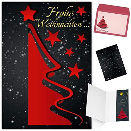 Weihnachtskarten mit Umschlag (15er Set) WEIHNACHTSBAUM ROT - Klappkarten ideal privat und geschäftlich - Frohe Weihnachten Karten von BREITENWERK
