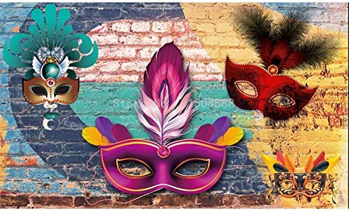 MINCOCO Modern Creatief Behang 3D Kleurrijke Graffiti Baksteen Muur Masker Prom Achtergrond Muurdecoratie Restaurant Cafe Art Retro Muurpapier 350 x 245 cm.