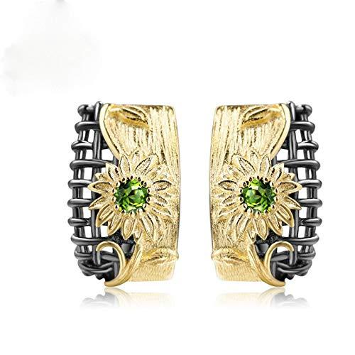 FEARRIN Pendientes Joyería de Boda Colgante Pendientes chapados en Oro geométricos de Dos Tonos Pendientes para Mujer Joyería Linda y Dulce Pendientes de Lazo de niña Oorbellen