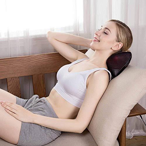 Sisliya Car Electric Lumbar Neck Back Massage Pillow Kneading Cushion Heat Magnetic Stone Massager (Car Neck Cushion Massager)