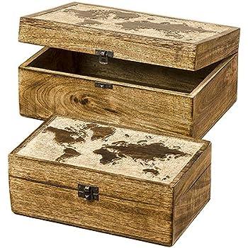 Home Collection Juego de 2 Cajas Cofre Organizadoras Decorativos Surtidos Mapa del Mundo Estilo Colonial Marron y Beige de Madera 25/30cm: Amazon.es: Hogar