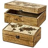 Home Collection Deko Dose Weltkarte 2er Set 25/30cm Kolonialstil Truhe Holz-Schatulle Schmuckkästchen Holzkiste Aufbewahrungsbox Deko-Box Dekoration Braun Beige