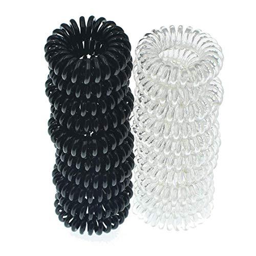 20pcs Spiral Hair Ties Bandes En Plastique Noir Coil Clair Cheveux Porte-anneau Ponytail