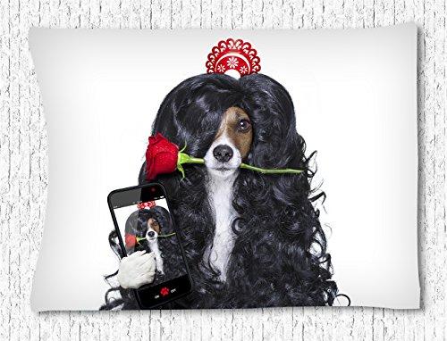 Irma00Eve wandtapijt opknoping chique hond dragen lange pruik Selfie met een roos nemen foto, muur kunst muur opknoping sprei slaapkamer woonkamer decoratie