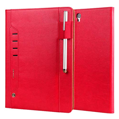 youanshanghang Protective case for Galaxy Tab S3 9.7/T820 Tmall Kaka Litchi Texture Horizontal Flip Leather Case with Holder & Card Slot & Photo Frame & Pen Slot, Simple and Practical (Color : Red)