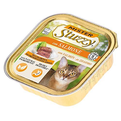 Stuzzy Mister, Comida húmeda para Gatos Adultos, Sabor salmón, línea paté y Carne en trozos - Total 3,2 kg (32 tarrinas x 100 gr)