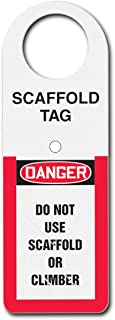 """Accuform TSS801 Plastic Status Alert Scaffold Tag Holder, Default Legend""""Danger DO NOT USE Scaffold OR Climber"""", 12"""" Length x 4-1/2"""" Width x 0.060"""" Thickness, Red/Black/White"""