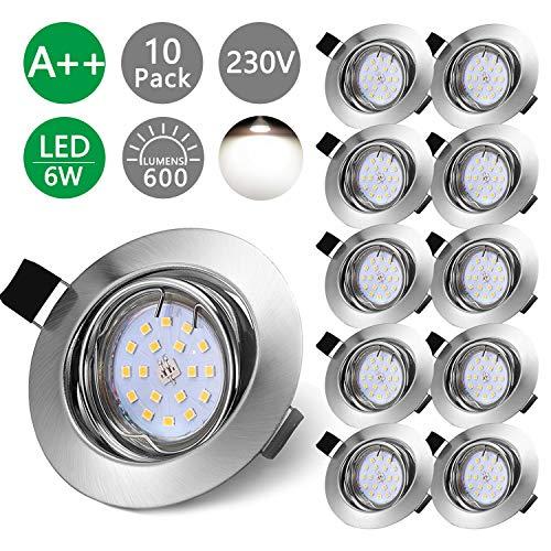 Bojim LED Einbaustrahler Set schwenkbar inkl. 10x Leuchtmittel Einbaurahmen Fassung 6W 600lm 4500K Neutralweiß Matt Nickel 230V IP20 Deckenleuchte 68mm LED Spots für Feuchtraum und Wohnraum