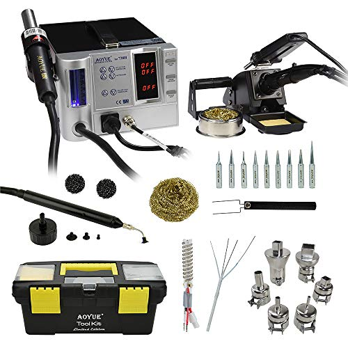 Aoyue 738H High Performance SMD Digital Hot Air Rework Station, 5 in 1 station has Hot Air, a 70 Watt Soldering Iron, Soldering Tweezers