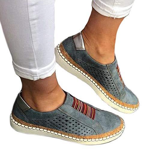 Zapatos Deportivos de Cuero para Mujer Zapatillas sin Cordones Zapatos Deportivos Huecos Planos Suaves Antideslizantes a Prueba de Golpes