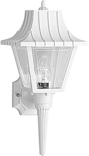 discount Progress Lighting P5815-30 sale Wall Torch with Ribbed Mansard Roof lowest Beveled Clear Acrylic Panels, White sale