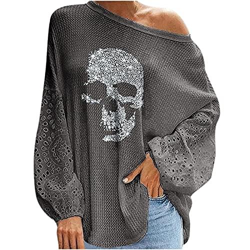 Wave166 Blusa para mujer, camiseta de Halloween sin hombros con diseño de calavera con lentejuelas, camiseta de manga larga con mangas de encaje, gris, M