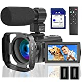 Video Camera Camcorder with Microphone 1080P, VideoSky 42MP HD 30FPS Digital Recording Camcorders for YouTube 64 GB Memory Card Vlogging IR Night Webcam Time-Lapse Slow Motion,Touch Screen, Lens Hood