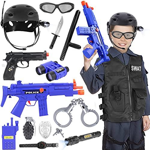 Tacobear SWAT Polica Disfraz Nio Policia Chaleco con Accesorios Polica Esposas Casco Insignia Walkie Talkie Telescopio Pistola Polica Juguete para Nios Halloween Fiesta Disfraces