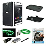Sony Xperia C5 Ultra Case, Mstechcorp Black Rubberized Slim Hard Case Cover + Belt Clip Holster for Sony Xperia C5 Ultra - with Accessories (Slim Shell)