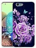 Sunrive Kompatibel mit Vodafone Smart E8 Hülle Silikon, Transparent Handyhülle Schutzhülle Etui Hülle (X Schmetterlinge und Rosen)+Gratis Universal Eingabestift MEHRWEG