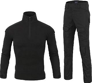 Men 2 Piece Combat T Shirt and Pant 1/4 Zip Camo Military Tactial Uniform Set with Long Sleeve