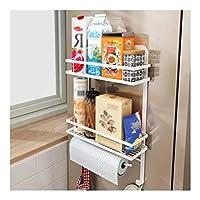 冷蔵庫サイドラック 冷蔵庫側ラック壁多機能保管ホルダーキッチンペーパータオル棚ラックオーガナイザースパイスジャーラック耐久性