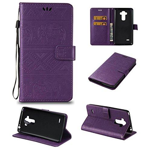 pinlu Schutzhülle Für LG Stylus G4 (5.7zoll) Handyhülle Hohe Qualität PU Ledertasche Brieftasche Mit Stand Function Elefanten Muster Lila