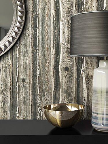 Holztapete in Braun Grau | schöne edle Tapete im Natur-Holz Design | moderne 3D Optik für Wohnzimmer, Schlafzimmer oder Küche inklusive der Newroom-Tapezier-Profibroschüre mit Tipps für perfekte Wände