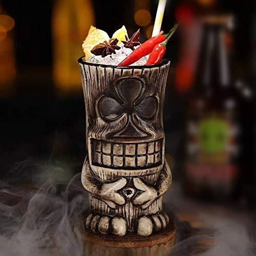 Tiki Mugs-Taza de cerámica hawaiana de cóctel, tazas de cerámica hawaiana, vasos de cóctel exóticos Tiki Bar profesional de fiesta hawaiana barware 450 ml