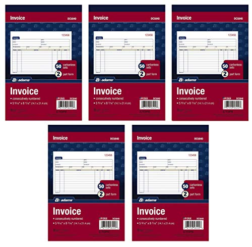 Adams Invoice Book, 2-Part, Carbonless, 5-9/16 x 8-7/16 Inches, 50 Sets per Book, 5 Books, 250 Sets Total (DC5840)