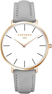 Simple Women Men Quartz Watch PU Leather/Alloy Strap Ladies Girls Dress Wristwatch