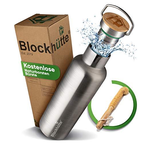 Blockhütte. Premium Edelstahl Trinkflasche isoliert mit Naturborsten Bürste I Die Innovative Isolierflasche ist auslaufsicher. I Die Edelstahl Trinkflasche ist für Kinder & Erwachsene. (750 ml)
