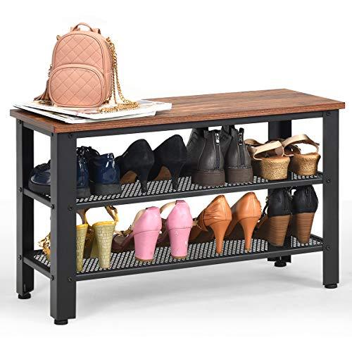 COSTWAY Schuhbank mit Metallrahmen, Schuhregal mit 2 Gitterablagen, Schuhschrank im Industriedesign, Konsolentisch für Eingang, Wohnzimmer (braun und schwarz)