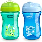 Chicco Rim Spout Trainer Spill Free Bite Poof Rim Baby Sippy Cup, 9 Months+, Blue/Teal, 9 Ounce (Pack of 2)