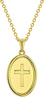 """925 Sterling Silver Religious Medal Cross Pendant Necklace for Little Kids & Pre-Teens 16"""" - Meaningful Religion Gifts For..."""