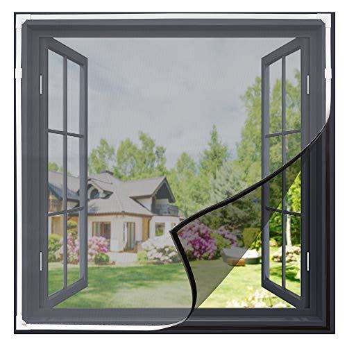 Gimars Mosquitera magnética recortable para ventana, sin agujeros, lavable, protección contra insectos para todas las ventanas pequeñas o iguales, 130 cm x 150 cm, imán para ventanas, color blanco