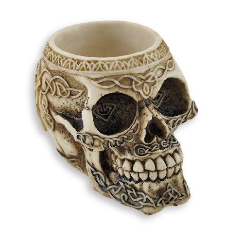 Zeckos Celtic Knot Skull Pen Holder