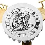 VICWOWONE Virgo Mantel - Mantel redondo de 40 pulgadas, moderno, color blanco y negro, signo del zodiaco horóscopo griego, elementos mitológicos, fácil de cuidar, color blanco y negro