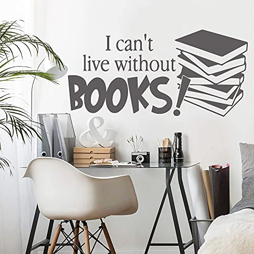 Pegatinas de pared Decoración del hogar Vinilo 3D No puedo vivir sin libros Pvc Pared lisa y limpia Vidrio Metal Madera Pegatinas de pared A1 43x89cm
