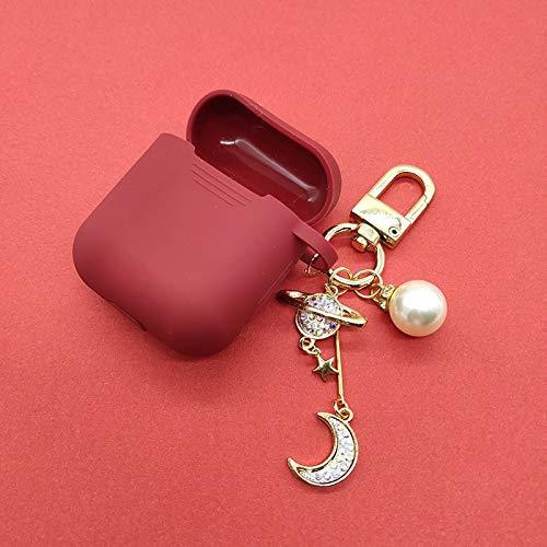 Hoesje Voor Apple Airpods Diamond Moon Siliconen Hoesje Accessoires Bluetooth Oortelefoon Hoofdtelefoon Bescherm Cover Parel Sleutelhanger QWERTB (Kleur : Wijn Rood)