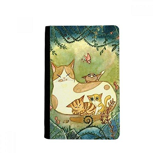 Carteira Miaoji Painting Cat Family Fantasy Passport Holder Notecase Burse Carteira Porta-cartão