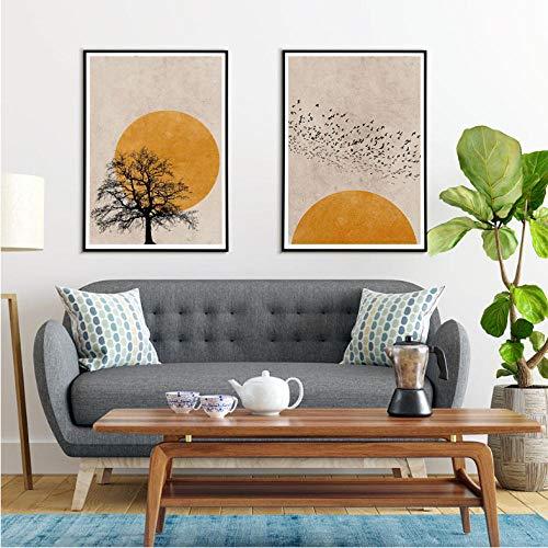 kaxiou canvas afdrukken boom zonsondergang vogels silhouet poster landschap muurkunst natuur abstract canvas schilderij muurkunst schilderijen voor woonkamer -42 x 60 cm x 2 stuks geen lijst