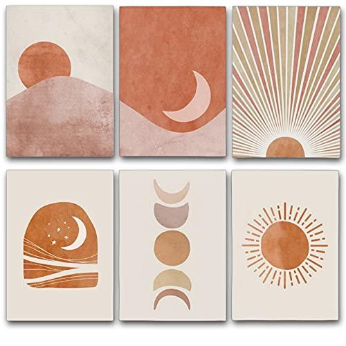 6pack Sunset Sunrise Landscape Canvas Art Prints Set,Modern Mid Century Geometric Decor 8